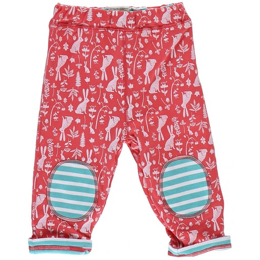 Floral bunny reversible trousers by Piccalilly in organic cotton 1