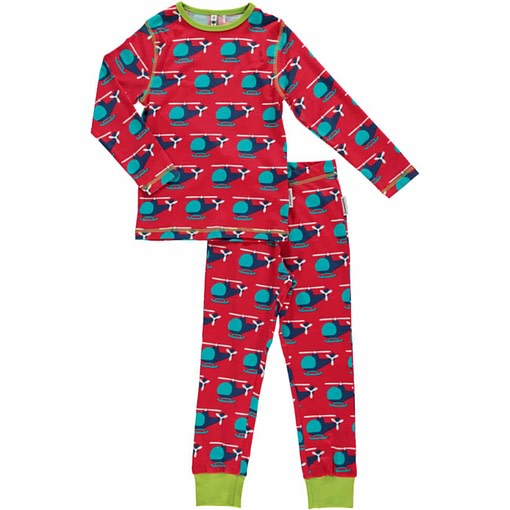 Maxomorra organic cotton pyjamas in chopper print 1