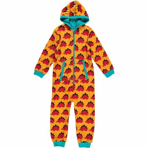 Organic onesie hooded pyjamas in Maxomorra dinosaur print 1