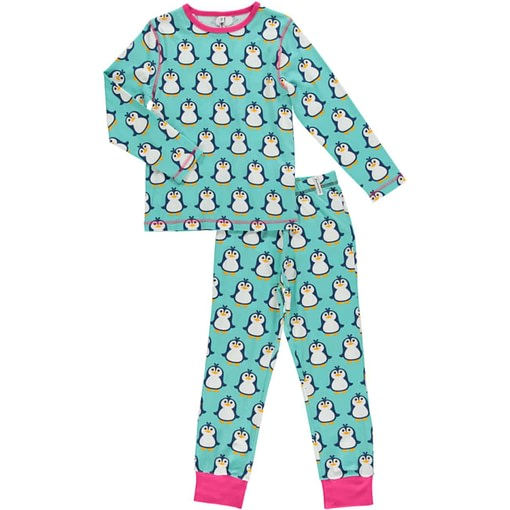 Maxomorra organic cotton pyjamas in festive penguins print 1