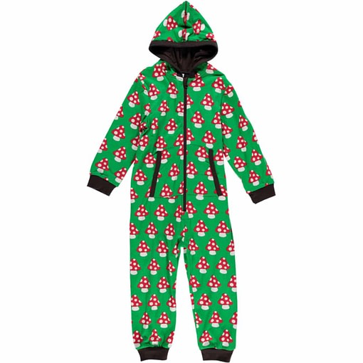 Organic onesie hooded pyjamas in Maxomorra mushrooms print (Age 4-6) 1