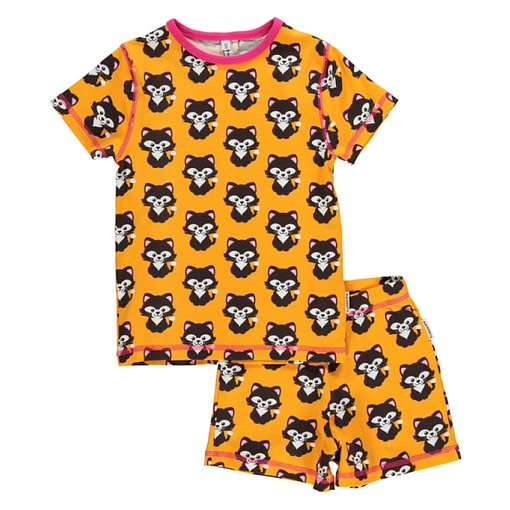 Maxomorra organic cotton summer short pyjamas in cat print 1