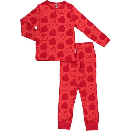 Maxomorra organic cotton pyjamas in red apples print 1