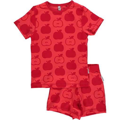 Maxomorra organic cotton summer short sleeve pyjamas in red apples print (Age 2-4) 1