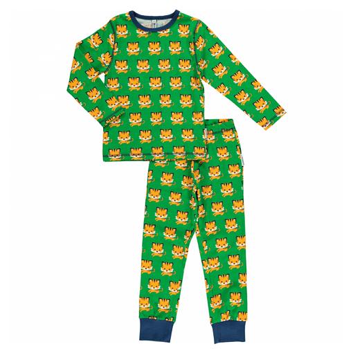 Maxomorra organic cotton pyjamas in green tiger print (18-24 months) 1