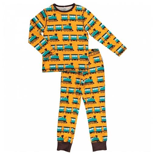 Maxomorra organic cotton pyjamas in train print (18-24m) 1