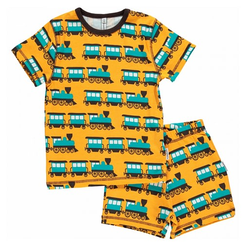 Maxomorra organic cotton summer short sleeve pyjamas in train design (Age 4-6) 1