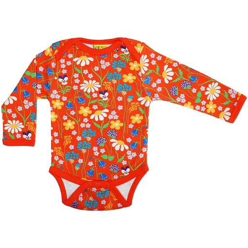 DUNS Sweden midsummer flowers organic cotton long sleeve bodysuit (74cm 6-9 months) 1