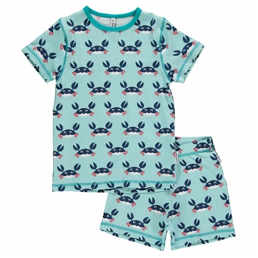 Maxomorra organic summer short sleeve pyjamas in crabs print (18-24 months) 1