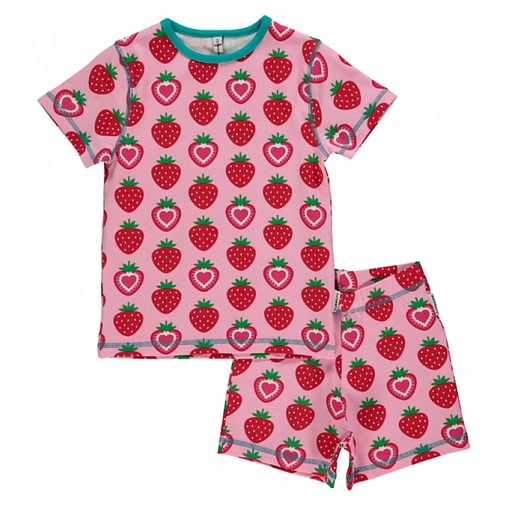 Maxomorra organic summer short sleeve strawberry pyjamas 1