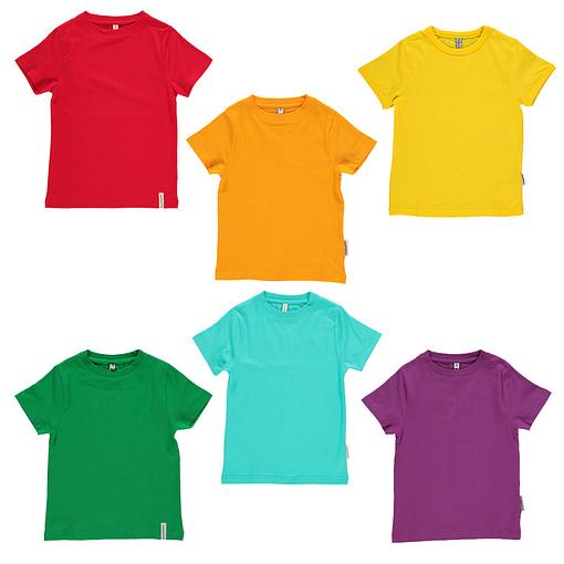 Maxomorra basic organic t-shirt in red | yellow | green | purple | turquoise | orange 1