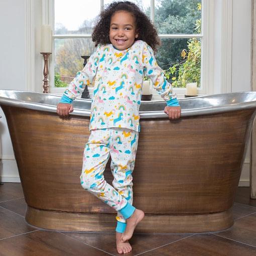 Dreamer pyjamas in organic cotton rainbows and unicorns print by Kite 3