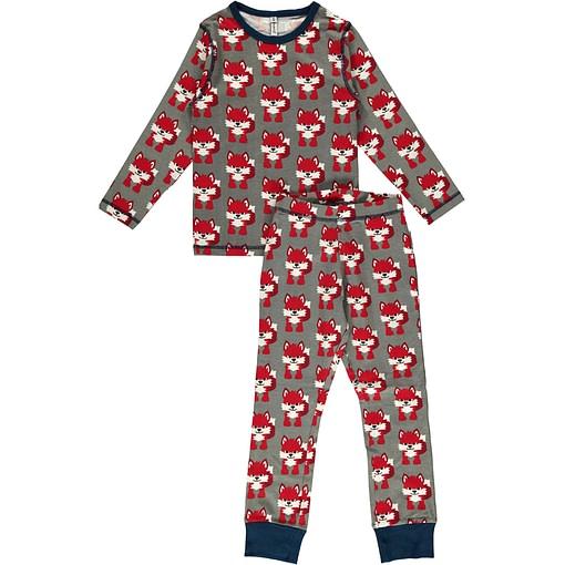 Maxomorra organic cotton pyjamas in fox print on grey (18-24m 86/92cm) 1