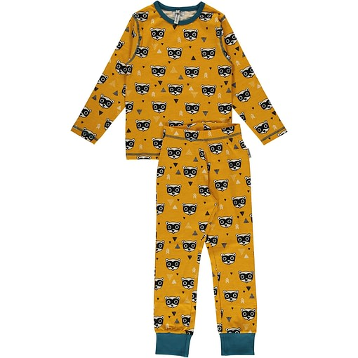 Maxomorra organic cotton pyjamas in bandit print 1