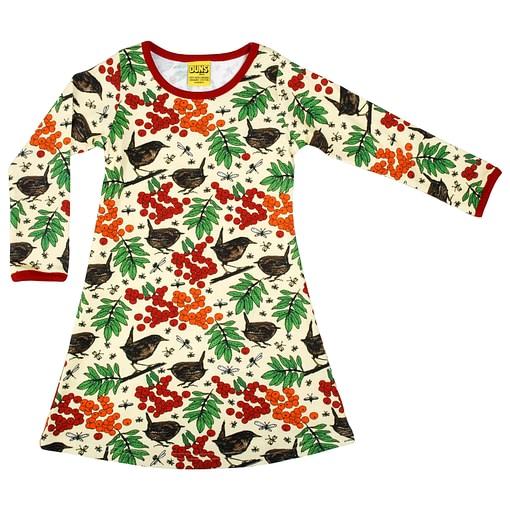 DUNS Sweden rowanberry print organic long sleeve dress 1