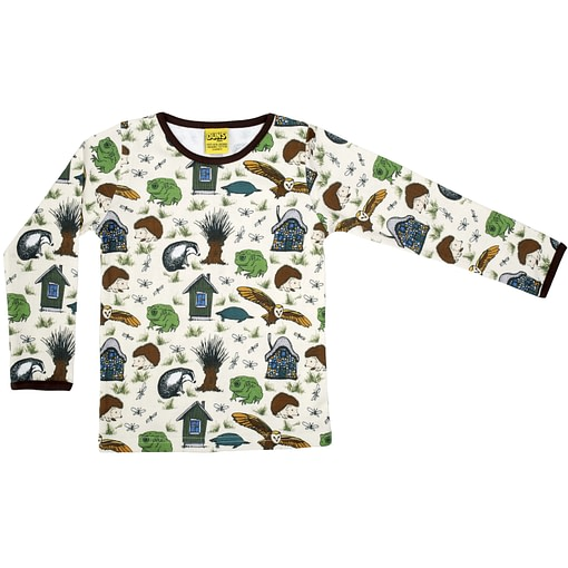 DUNS Sweden Wind in the Willows print on cream organic cotton top (86cm 12-18m) 1