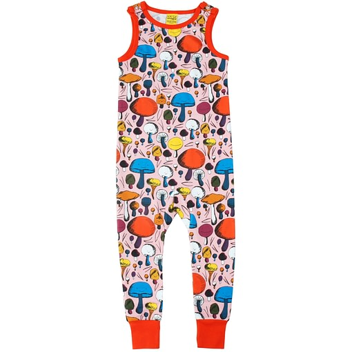 DUNS Sweden Mushrooms on pink organic cotton dungarees (104cm Age 3-4) 1