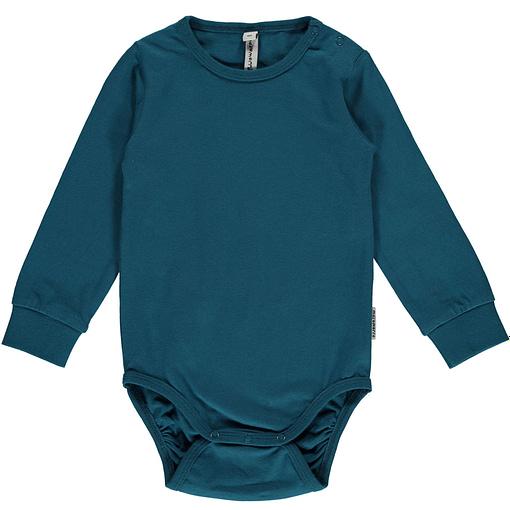Blue plain long sleeve organic cotton baby vest by Maxomorra 1