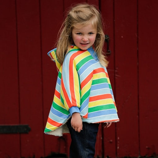 Primary stripe rainbow reversible poncho by Piccalilly in organic cotton 2