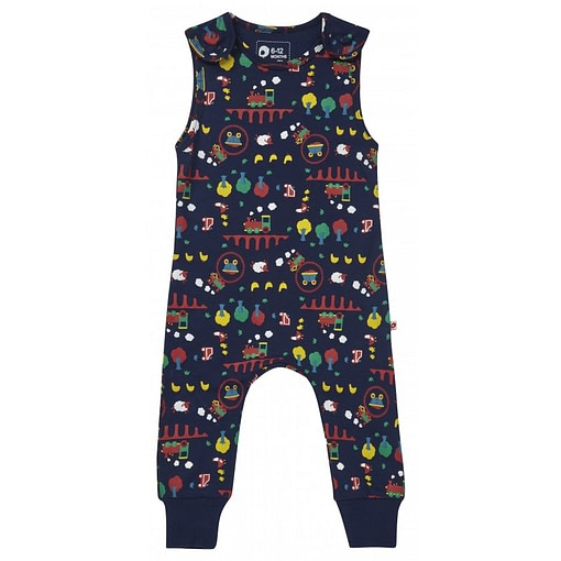 Ribblehead dungarees on navy blue organic cotton by Piccalilly (80cm 6-12m) 1