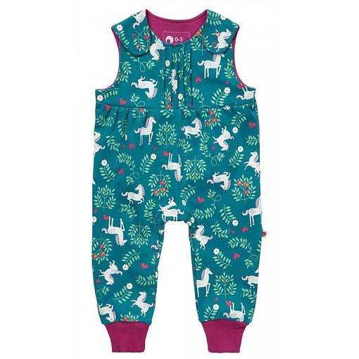 Unicorn dungarees by Piccalilly on teal organic cotton (68cm 4-6 months) 1