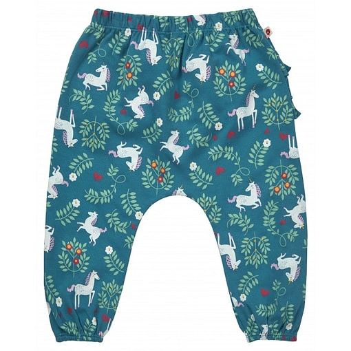 Unicorn ruffle back trousers by Piccalilly in organic cotton 1