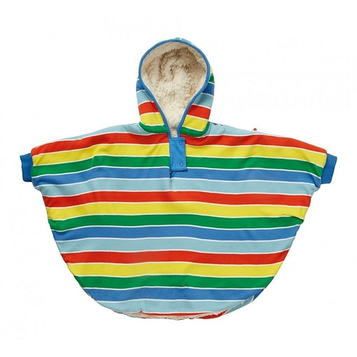 Primary stripe rainbow reversible poncho by Piccalilly in organic cotton 1