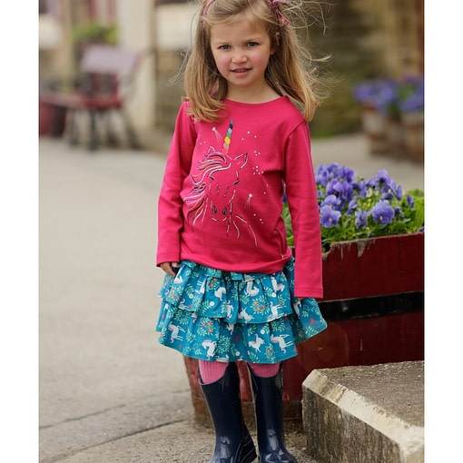 Unicorn rara skirt by Piccalilly in organic cotton (104cm 3-4) 2
