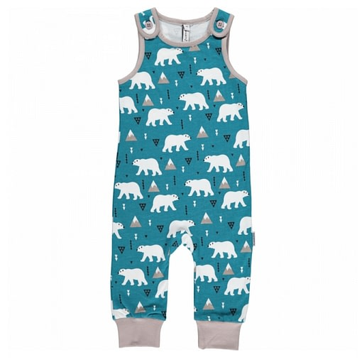 Polar bear playsuit dungarees by Maxomorra in organic cotton (56cm 1-2 months) 1