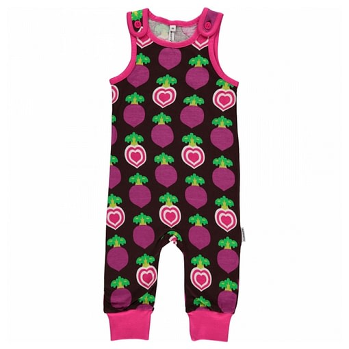 Polka beet dungarees by Maxomorra in organic cotton (86cm 12-18 months) 1