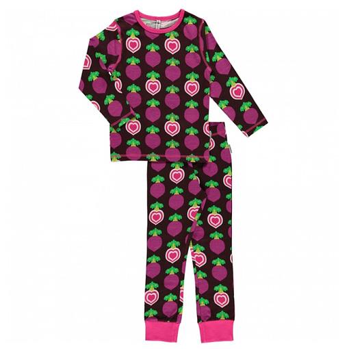 Maxomorra organic cotton pyjamas in polka beet design (110-116cm Age 4-6) 1