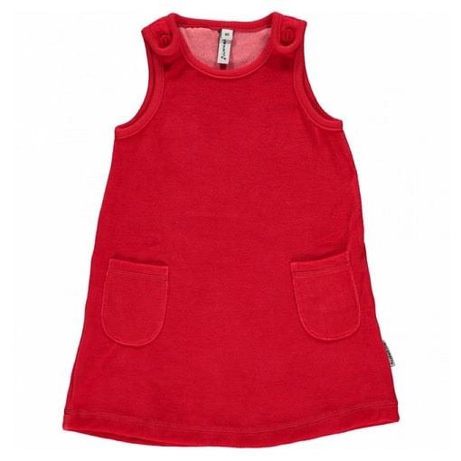 Red pinafore by Maxomorra in organic blend velour 1