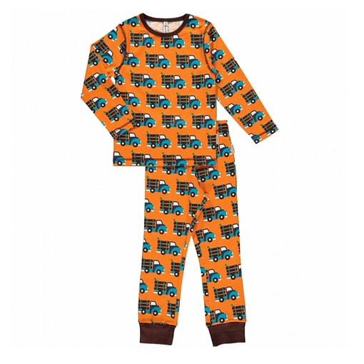 Maxomorra organic cotton pyjamas in log truck print (110-116cm Age 4-6) 1