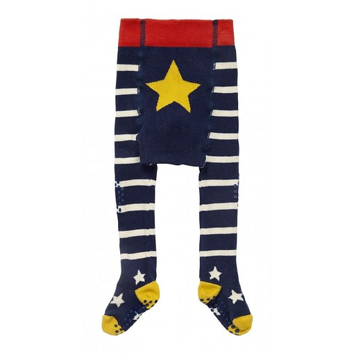 Piccalilly blue and white stripe baby crawler tights in organic cotton 1