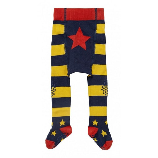 Piccalilly blue and yellow stripe baby crawler tights in organic cotton 1
