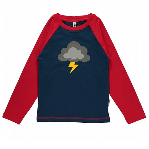 Lightning cloud single print long sleeve top by Maxomorra in blue organic cotton 1