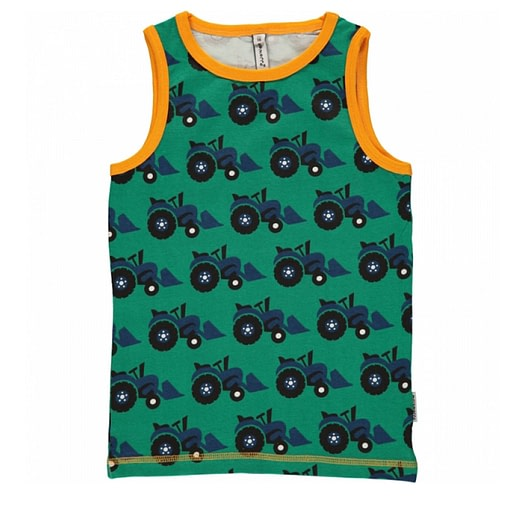 Maxomorra ~ tractor organic cotton sleeveless vest 1