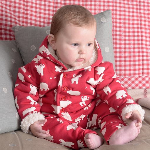 Polar bear sherpa fleece jacket by Piccalilly in organic cotton (12-18m) 3