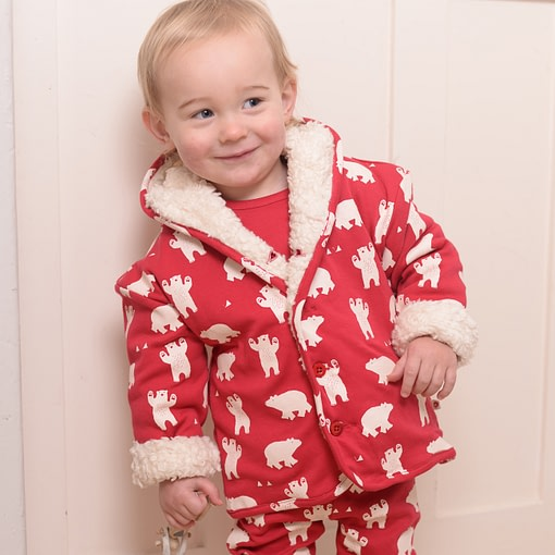 Polar bear sherpa fleece jacket by Piccalilly in organic cotton (12-18m) 2