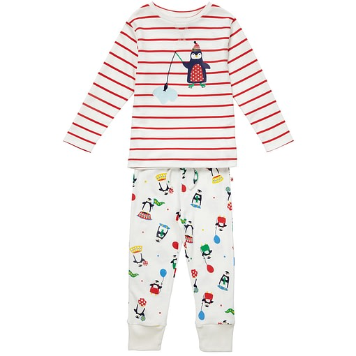 Penguin stripe pyjamas by Piccalilly in organic cotton 1