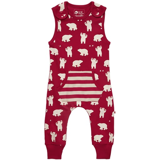 Polar bear dungarees by Piccalilly in organic cotton 1