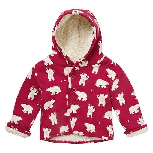 Polar bear sherpa fleece jacket by Piccalilly in organic cotton (12-18m) 1