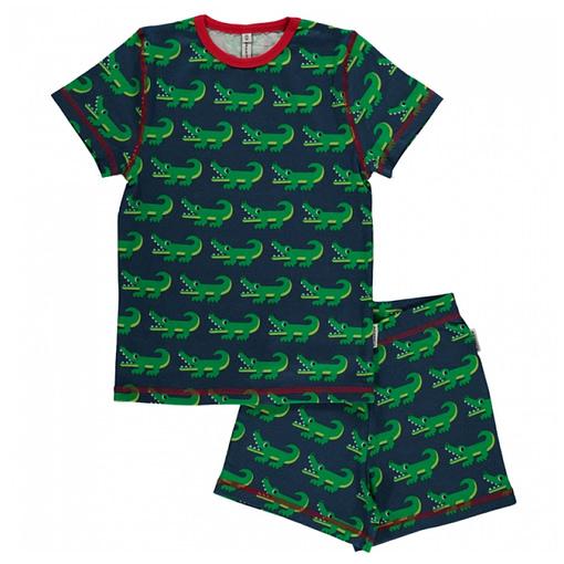 Maxomorra crocodile organic short sleeve summer pyjamas (74/80cm 9-12m) 1