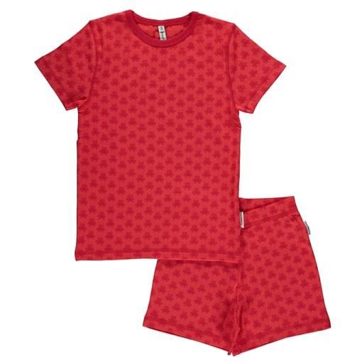 Maxomorra organic cotton short sleeve summer pyjamas in mono robots print 1