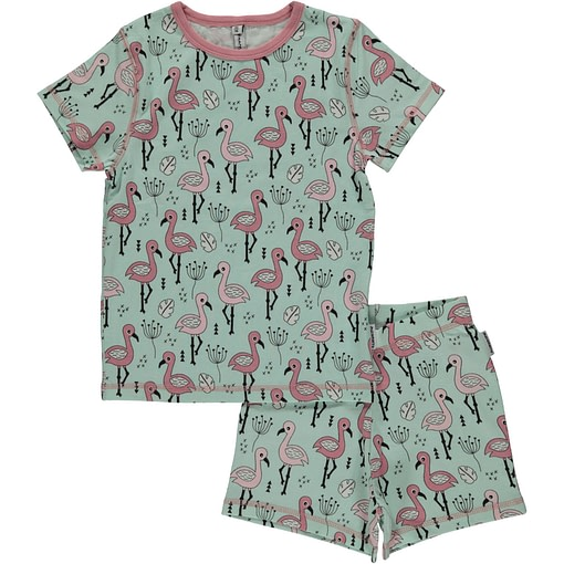 Maxomorra organic short sleeve pyjamas in sweet flamingo print (134-140 age 8-10) 1