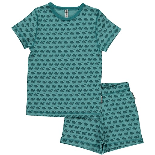 Maxomorra ethical short sleeve pyjamas in toothed whale print (98/104 Age 3-4) 1
