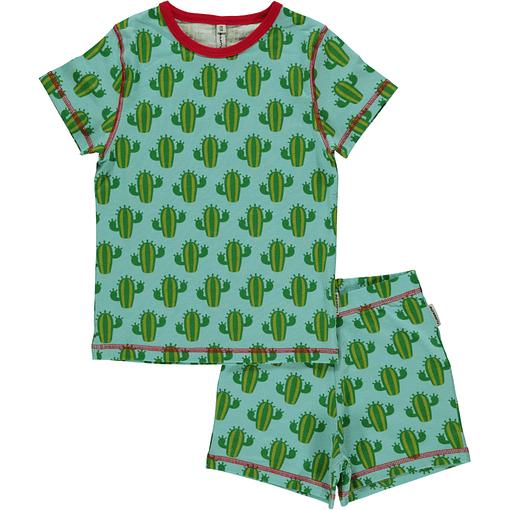 Maxomorra organic cotton short sleeve summer pyjamas in cactus print (110-116 Age 4-6) 1