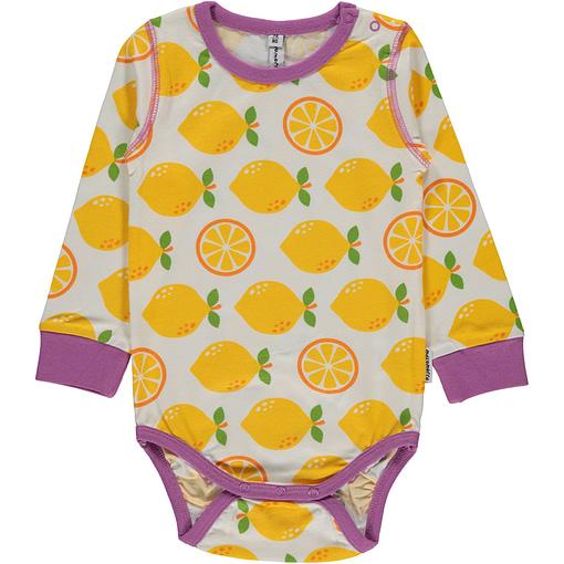 Lemon print organic cotton long sleeve vest - Maxomorra (9-12m 74/80) 1
