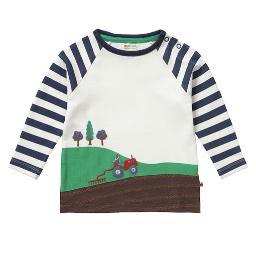 Farming tractor top by Piccalilly on organic cotton 1