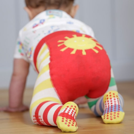 Piccalilly rainbow hotchpotch stripe baby crawler tights in organic cotton with sunshine bum 1